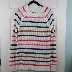 SO Rainbow Striped Sweater
